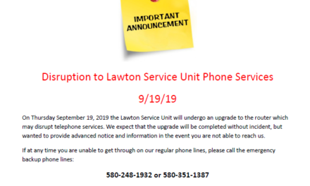 Disruption to Lawton Service Unit Phone Service September 19, 2019