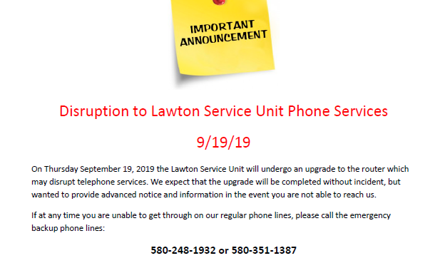 Disruption to Lawton Service Unit Phone Service September 19, 2019